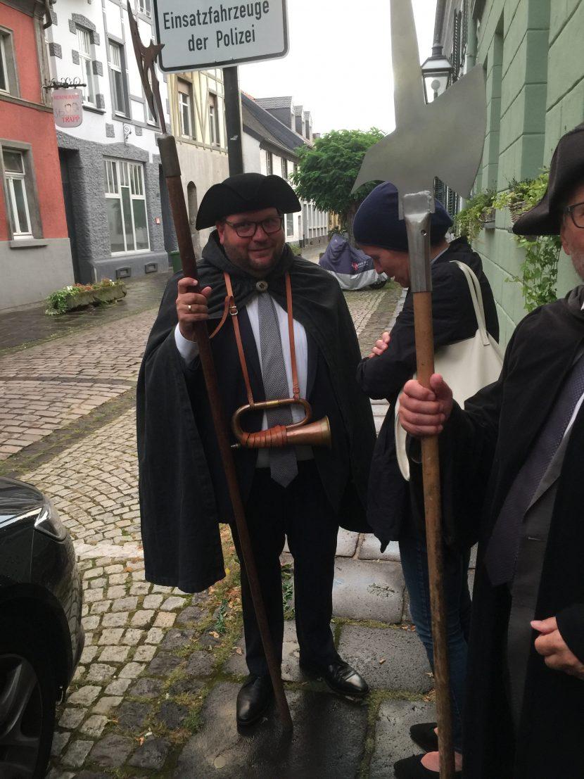 Oberbürgermeister Frank Meyer als Hilfsnachtwächter